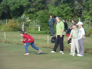 Junior bowls training by St Francis Bay Bowls Club President Madeleine Berry